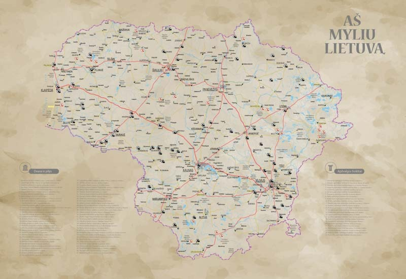 Lietuvos žemėlapis su smeigtukais, žemėlapis ant drobės, Lietvos zemelapis ant drobes, Pin and travel, Push pin map, Lithuania canvas map, Detalus lietuvos zemelapis-2019