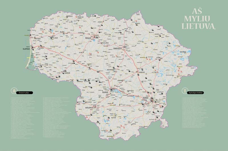 Lietuvos žemėlapis su smeigtukais, žemėlapis ant drobės, Lietvos zemelapis ant drobes, Pin and travel, Push pin map, Lithuania canvas map, Detalus lietuvos zemelapis-20