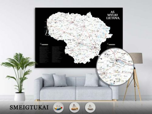 Lietuvos žemėlapis su smeigtukais, žemėlapis ant drobės, Lietvos zemelapis ant drobes, Pin and travel, Push pin map, Lithuania canvas map, Detalus lietuvos zemelapis-21