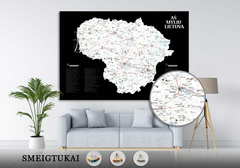 Lietuvos žemėlapis su smeigtukais, žemėlapis ant drobės, Lietvos zemelapis ant drobes, Pin and travel, Push pin map, Lithuania canvas map, Detalus lietuvos zemelapis-21