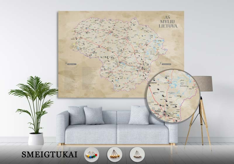 Lietuvos žemėlapis su smeigtukais, žemėlapis ant drobės, Lietvos zemelapis ant drobes, Pin and travel, Push pin map, Lithuania canvas map, Detalus lietuvos zemelapis-22