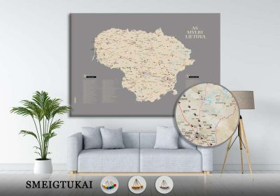 Lietuvos žemėlapis su smeigtukais, žemėlapis ant drobės, Lietvos zemelapis ant drobes, Pin and travel, Push pin map, Lithuania canvas map, Detalus lietuvos zemelapis-23