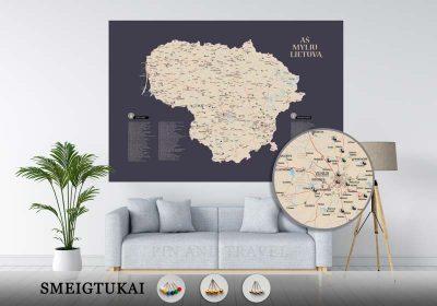 Lietuvos žemėlapis su smeigtukais, žemėlapis ant drobės, Lietvos zemelapis ant drobes, Pin and travel, Push pin map, Lithuania canvas map, Detalus lietuvos zemelapis-26