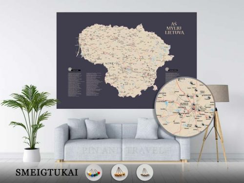Lietuvos žemėlapis su smeigtukais, žemėlapis ant drobės, Lietvos zemelapis ant drobes, Pin and travel, Push pin map, Lithuania canvas map, Detalus lietuvos zemelapis-26