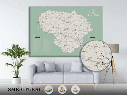 Lietuvos žemėlapis su smeigtukais, žemėlapis ant drobės, Lietvos zemelapis ant drobes, Pin and travel, Push pin map, Lithuania canvas map, Detalus lietuvos zemelapis-27