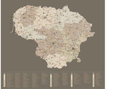 Lietuvos žemėlapis su smeigtukais, žemėlapis ant drobės, Lietvos zemelapis ant drobes, Pin and travel, Push pin map, Lithuania canvas map, Detalus lietuvos zemelapis-38
