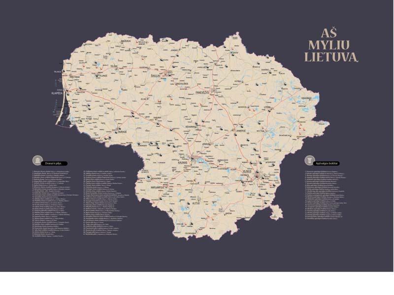 Lietuvos žemėlapis su smeigtukais, žemėlapis ant drobės, Lietvos zemelapis ant drobes, Pin and travel, Push pin map, Lithuania canvas map, Detalus lietuvos zemelapis-39