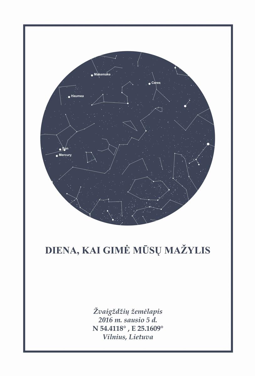 Pilka/balta, Dovana, Žemėlapiai, zvaigzdziu zemelapiai, žvaigdžių žemėlapis, imprimera.shop,easy-print.lt, žemėlapis ant drobės, žvaigždės ant drobės, dangaus pasas
