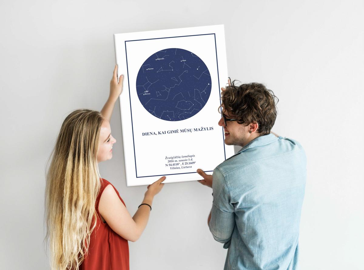 tamsiai mėlynas/balta, Dovana, Žemėlapiai, zvaigzdziu zemelapiai, žvaigdžių žemėlapis, imprimera.shop,easy-print.lt, žemėlapis ant drobės, žvaigždės ant drobės, dangaus pasas