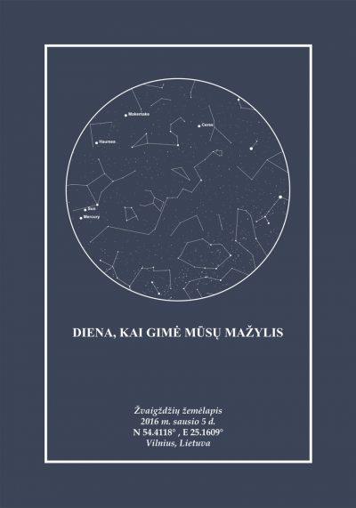Pilka/Pilka, Dovana, Žemėlapiai, zvaigzdziu zemelapiai, žvaigdžių žemėlapis, imprimera.shop,easy-print.lt, žemėlapis ant drobės, žvaigždės ant drobės, dangaus pasas