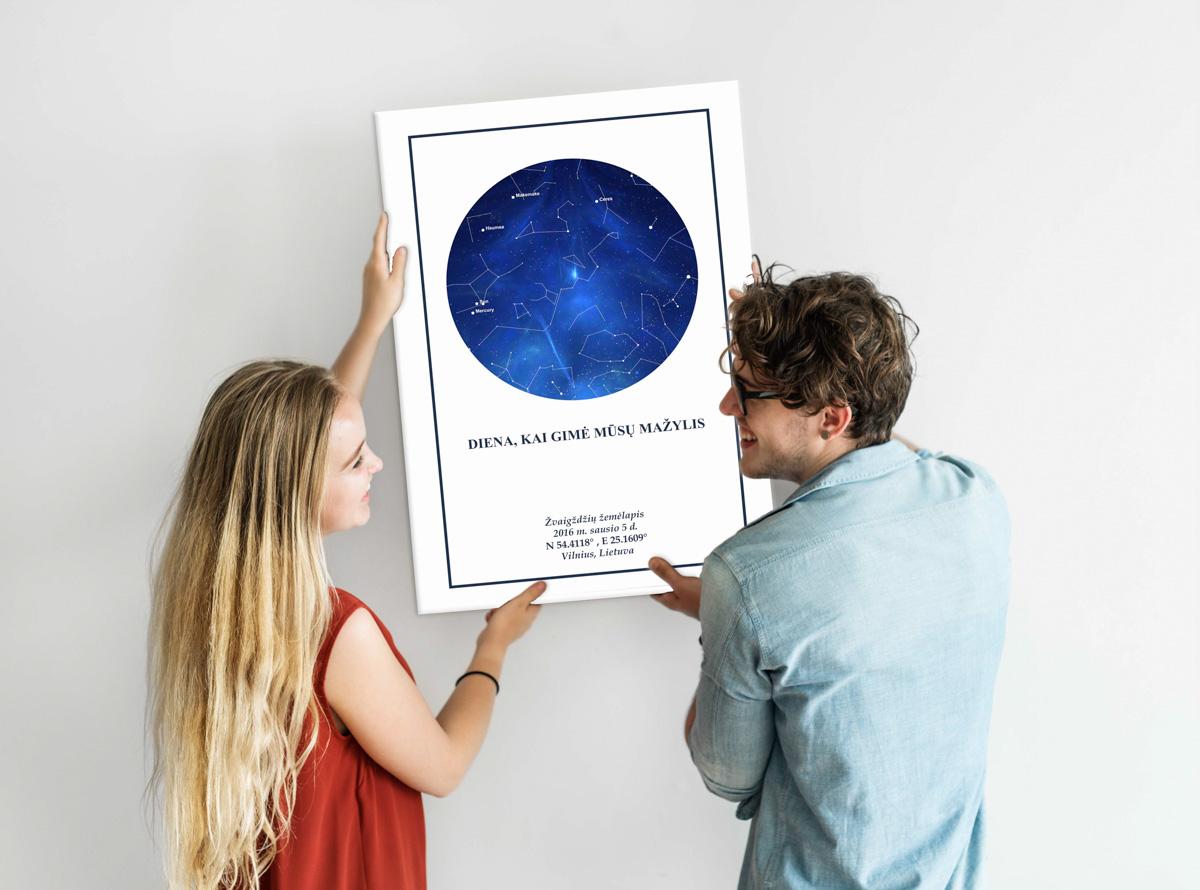 Mėlyna/balta, Dovana, Žemėlapiai, zvaigzdziu zemelapiai, žvaigdžių žemėlapis, imprimera.shop,easy-print.lt, žemėlapis ant drobės, žvaigždės ant drobės, dangaus pasas