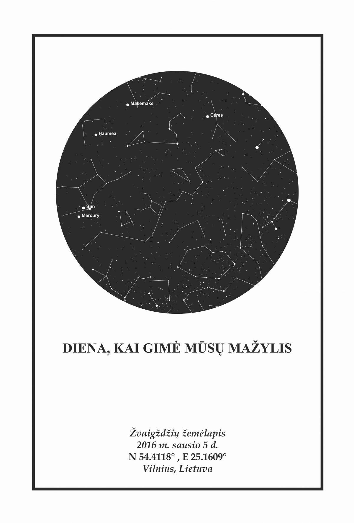 Juoda/balta, Dovana, Žemėlapiai, zvaigzdziu zemelapiai, žvaigdžių žemėlapis, imprimera.shop,easy-print.lt, žemėlapis ant drobės, žvaigždės ant drobės, dangaus pasas